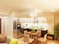 Матовый белый натяжной потолок в помещении кухня-столовая
